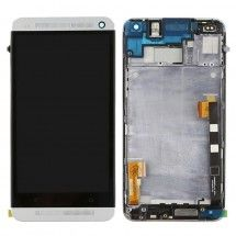 Pantalla LCD mas tactil con marco color Silver HTC One M7 (swap)