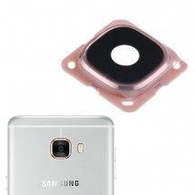 Embellecedor y lente cámara trasera color Rosa para Samsung Galaxy C7