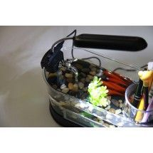 Mini tanque de peces acuario con lampara de escritorio LED