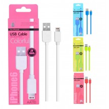 Cable datos Lighting para iPhone - 1m - 2A - Ref. AA110 - Varios colores