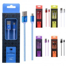 Cable datos Metal MicroUSB - 1m - 2A - Ref. AS110 - Varios colores