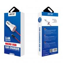 Cargador mechero coche MicroUSB 5V 3.4A para móvil y tablet - Bofon BF-C120 color Negro