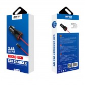 Cargador mechero coche y cable MicroUSB 5V 3.4A para móvil y tablet - Bofon BF-C120 color Negro