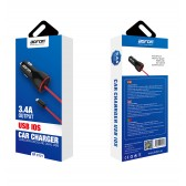 Cargador mechero coche y cable Lightning 5V 3.4A para móvil y tablet - Bofon BF-C121 color Negro