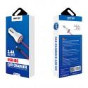 Cargador mechero coche y cable Lightning 5V 3.4A para móvil y tablet - Bofon BF-C121 color Blanco
