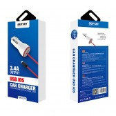 Cargador mechero coche y cable Lightning 5V 3.4A para móvil y tablet - Bofon BF-C121 color Blanco
