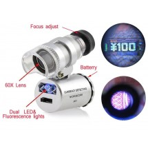 Mini Microscopio con LED y luz UV de 60x