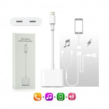 Adaptador Dual Lightning a Puerto carga y Audio para iPhone