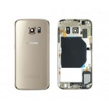 Tapa y chasis intermedio con Flex, botones y buzzer color dorado para Samsung Galaxy S6 (Swap)