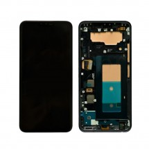 Pantalla completa LCD y táctil CON MARCO color negro para LG V40 ThinQ