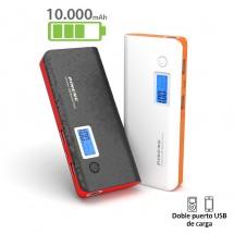Batería externa USB / Inalámbrica Power Bank 10000mAh - pantalla digital - varios colores