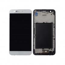 Pantalla LCD y táctil con marco color blanco para LG K10 2017 X400 M250