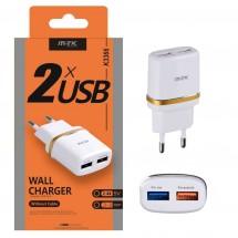 Cargador Red USB Dual 2.4A 5V para iOS y Android - Ref. OP-K3366 color blanco