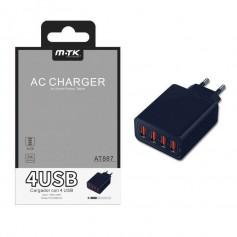 Cargador Red USB 4 puertos 5A 5V para iOS y Android - Ref. OP-AT887 color Negro