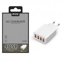 Cargador Red USB 4 puertos 5A 5V para iOS y Android - Ref. OP-AT887 color blanco
