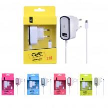Cargador Dual 2.1A con cable MicroUSB + 1 salida USB - Ref. OP-CS102 - elige color