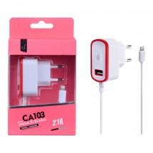 Cargador Dual 2.1A con cable Lighting + 1 salida USB - Ref. OP-CA103 - elige color