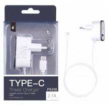 Cargador Dual 2.1A 5V con cable Typo-C + 1 salida USB - Ref. OP-P5418 - elige color