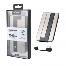 Batería externa Power Bank 7000mAh 2.1A con cable MicroUSB - Mod. OP-D2789 color gris