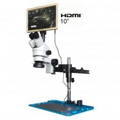 "Microscopio Trinocular 7-45X HU708A soporte Tipo-A Monitor 10"" HDMI - Luz LED"