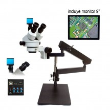 "Microscopio Trinocular 7-45X HU708A soporte Tipo-C Monitor 9"" - Luz LED"