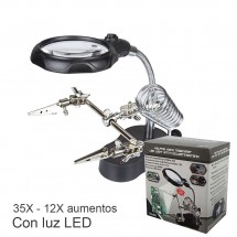 Soporte con Lupa de precisión TE-801 35X - 12X - Luz LED - para reparaciones electrónicas