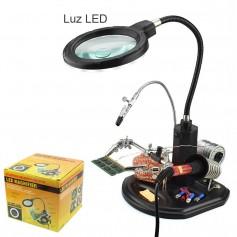 Soporte para cautin y estaño, con Lupa TE-802 - Luz 16 LEDs - para reparaciones electrónicas