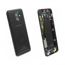 Tapa trasera color Negro con cristal lente para Samsung Galaxy A6 (A600F)