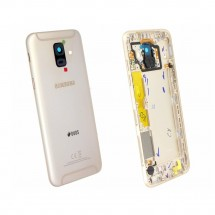 Tapa trasera color Dorado con cristal lente para Samsung Galaxy A6 (A600F)