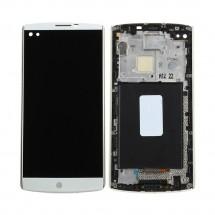 Pantalla completa LCD y Tactil Color blanco con marco para LG V10 H960