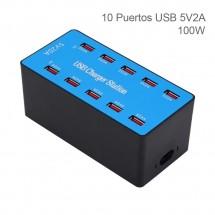 Estación de carga de 100w con 10 puertos USB Autoregulabe - Ventilador refrigerante