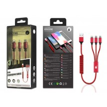 Cable carga 3 en 1 Type-C MicroUSB Lightning - 2A - Ref. OP-B5096 - elige color