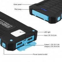 Batería Externa Power Bank SOLAR 10000mAh - 2 USB - impermeable - Luz Led - brújula - NW-MP058 - elige color