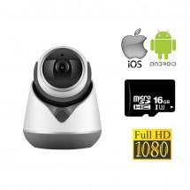 Cámara de vigilancia Wifi FulHD 1090p visión desde móvil Android y iPhone Mod. 18Y5, soporte tarjeta memorí MicroSD