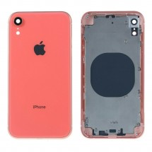 Chasis tapa carcasa central marco con NFC para iPhone XR color rosa