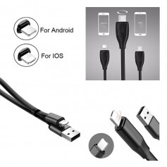 Cable Datos 2 en 1 Lightning y MicroUSB reversible 1m para Android y iPhone