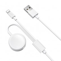 Adaptador cable datos y carga 2 en 1 para iPhone Lightning y Apple Watch