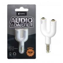 Adaptador jack 3.5mm a jack micrófono y jack auricular color blanco