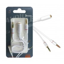 Adaptador audio 2 jack 3.5mm a jack hembra color blanco