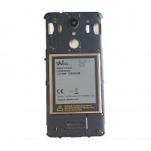 Carcasa intermedia negra con cristal lente y altavoz Wiko U Pulse (swap)