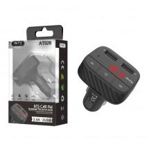 Transmisor FM Bluetooth - pantalla - micrófono y  Cargador Dual USB 5V - 2.4A - OP-AT026