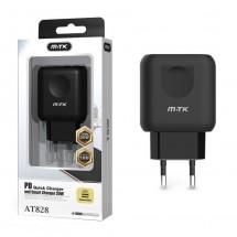 Cargador Rápido 2 salidas USB 2.4A y 1 salida carga PD 18W - OP-AT828