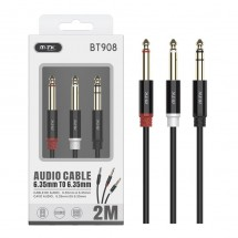 Cable audio cobre Jack 6.35mm a Jack 6.35mm macho-macho longitud 2m OP-BT908