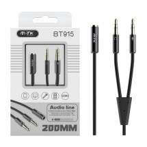 Cable audio cobre Jack 3.5mm H a Jack 3.5mm M-M longitud 0.2m OP-BT915