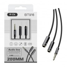 Cable audio cobre Jack 3.5mm M a Jack 3.5mm H-H longitud 0.2m OP-BT916