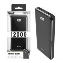 Batería PowerBank 12000mAh 2 USB - MicroUSB - Type-C - Pantalla LED - OP-TD2124