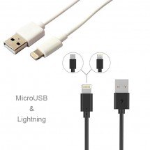 Cable Datos Lightning y MicroUSB reversible Android y iPhone Bofon