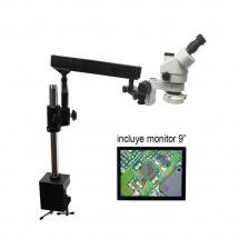 """Microscopio trinocular, de 7-45X aumentos, modelo HU708A con soporte Tipo-B, incluye monitor de 9"""", y luces LED"""