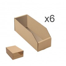 Gaveta contenedor almacenaje cartón automontante y apilable 29*10*10