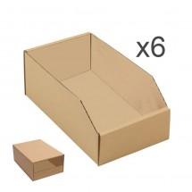 Gaveta contenedor almacenaje cartón automontante y apilable 45*18*15